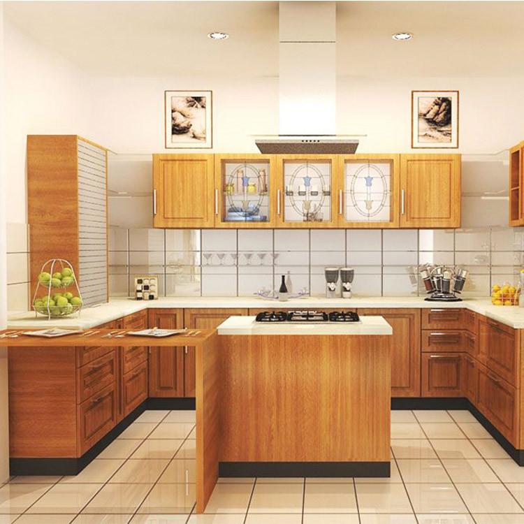 Modern timber veneer finish kitchen cabinets