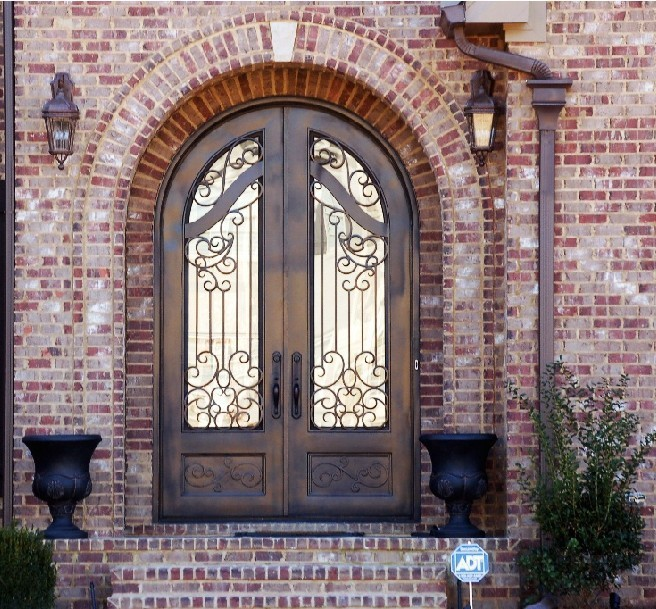 Wrought iron designs double pane aluminum window-BK059