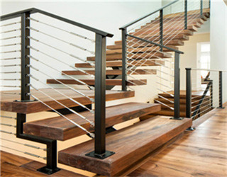 Mono Beam Straight Floating Staircase with Frameless Glass